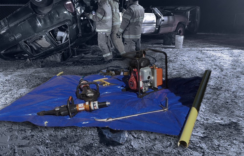 Quick Stage, tarp, firefighters, and safety tools